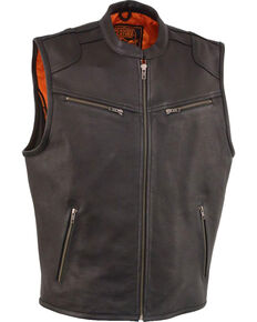 Milwaukee Leather Men's Black Cool Tec Leather Vest - Big 4X , Black, hi-res
