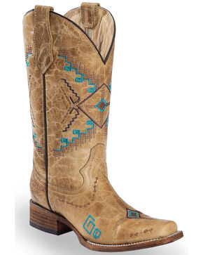 Corral Women's Aztec Embroidered Square Toe Western Boots, Ivory, hi-res