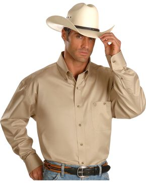 George Strait by Wrangler Men's Tan Long Sleeve Western Shirt, Tan, hi-res