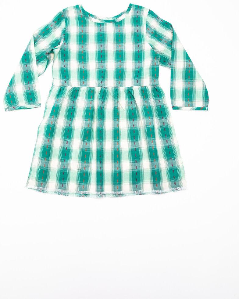 Wrangler Toddler Girls' Turquoise Dobby Plaid Long Sleeve Dress, Turquoise, hi-res