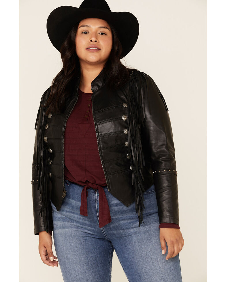 Liberty Wear Women's Black Fringe Snap Sheep Napa Jacket - Plus, Black, hi-res
