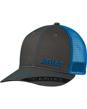 Ariat Men's Grey with Pink Offset Baseball Cap , Blue, hi-res