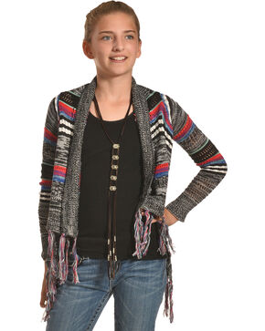 Derek Heart Girls' Mixed Stripe Fringe Cardigan, Multi, hi-res