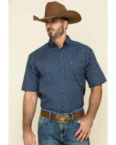 Ariat Men's Trussville Navy Geo Print Short Sleeve Western Shirt , Navy, hi-res