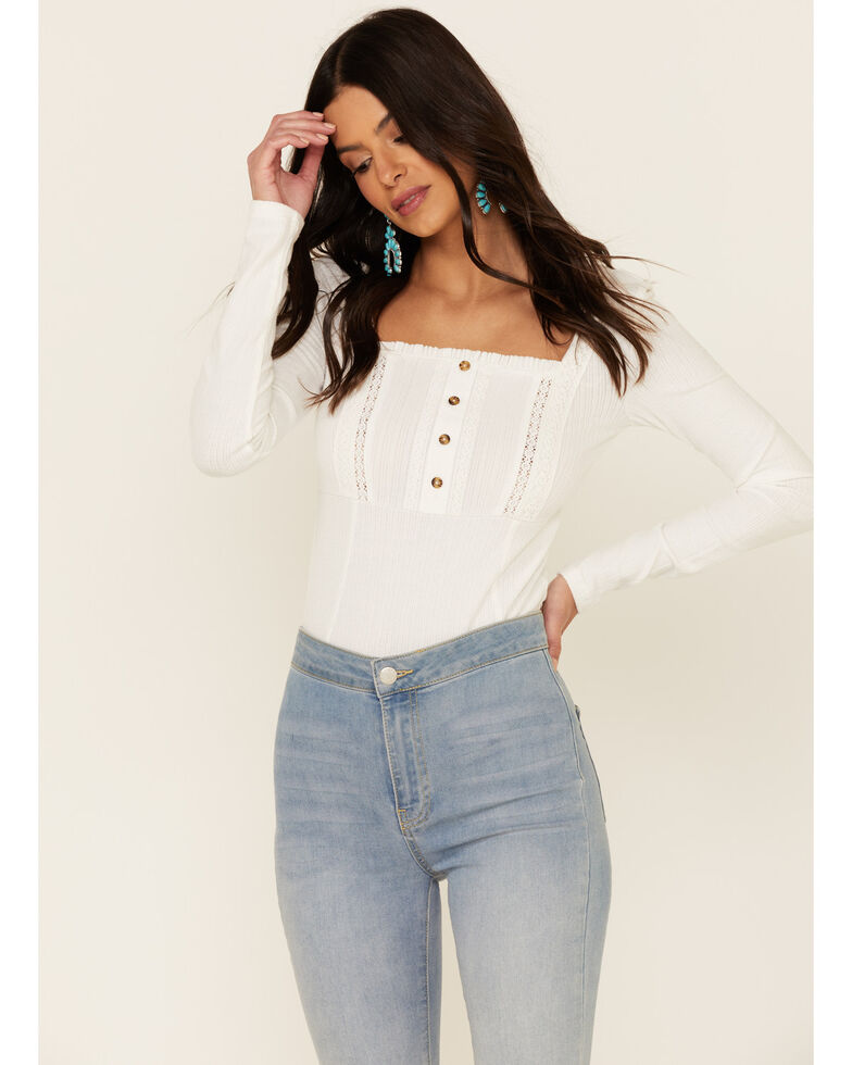 Shyanne Women's Ivory Pointelle Long Sleeve Top , Ivory, hi-res