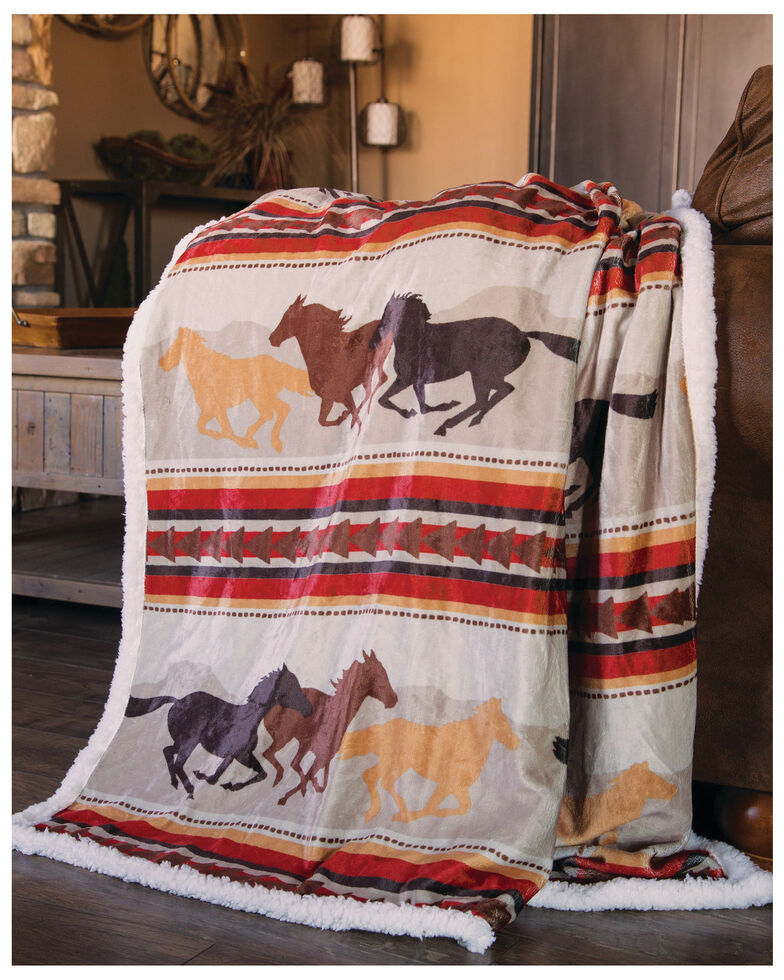 Carstens Home Wrangler Running Horse Country Sherpa Fleece Throw Blanket , Multi, hi-res