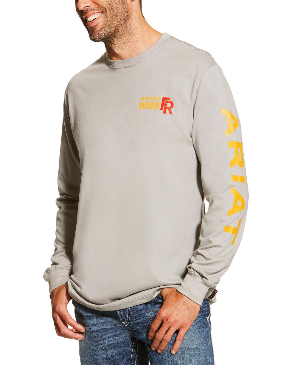 Ariat Men's Grey FR Logo Crew Neck Long Sleeve Shirt - Tall, Grey, hi-res
