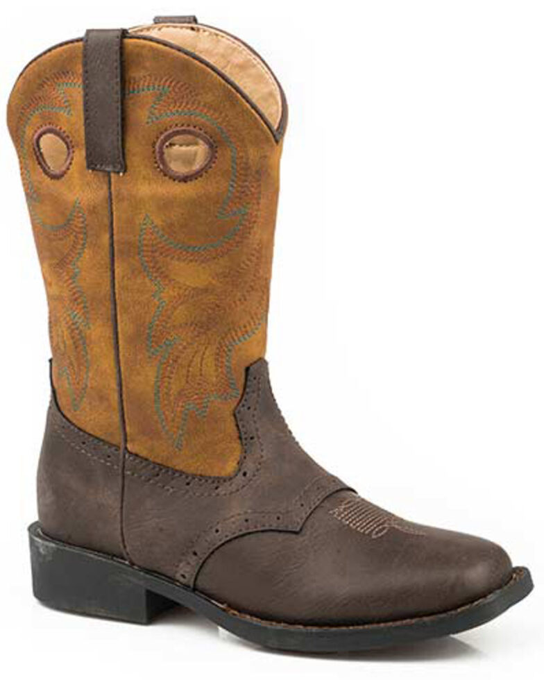 Roper Girls' Daniel Western Boots - Square Toe, Brown, hi-res