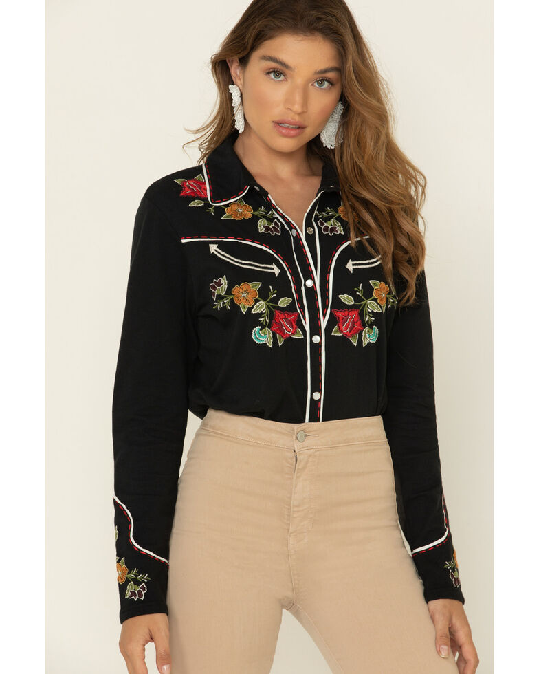 Double D Ranch Women's Velenda Embroidered Long Sleeve Top, Black, hi-res