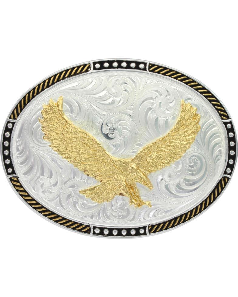 Montana Silversmiths Men's Two-Tone Soaring Eagle Belt Buckle , Silver, hi-res