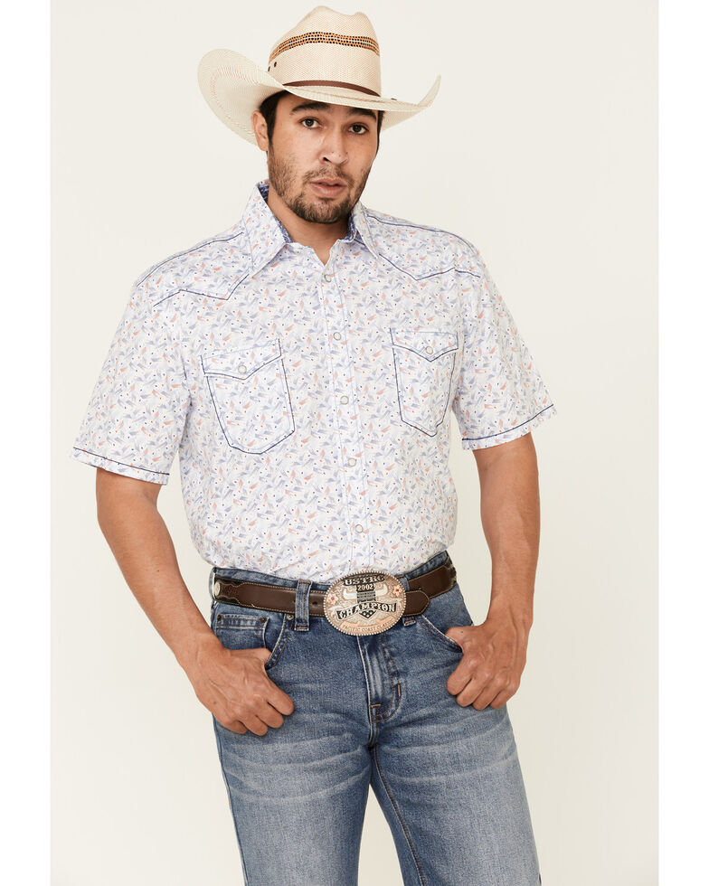 Rough Stock By Panhandle Royal Americana Print Short Sleeve Western Shirt , Royal Blue, hi-res