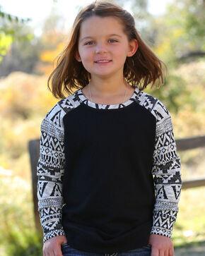 Cruel Girl Girls' Southwestern Knit Pullover Sweatshirt, Black, hi-res