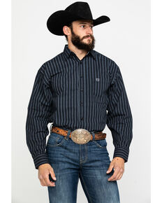 Panhandle Select Men's Peached Stripe Print Long Sleeve Western Shirt , Black, hi-res