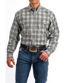 Cinch Men's Grey Plaid Button Long Sleeve Western Shirt , Grey, hi-res