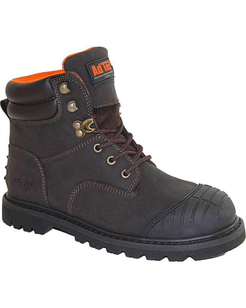 """Ad Tec Men's 6"""" Brown Oiled Leather Work Boots - Steel Toe, Brown, hi-res"""
