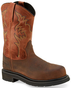 Old West Men's Brown Western Work Boots - Steel Toe, Brown, hi-res