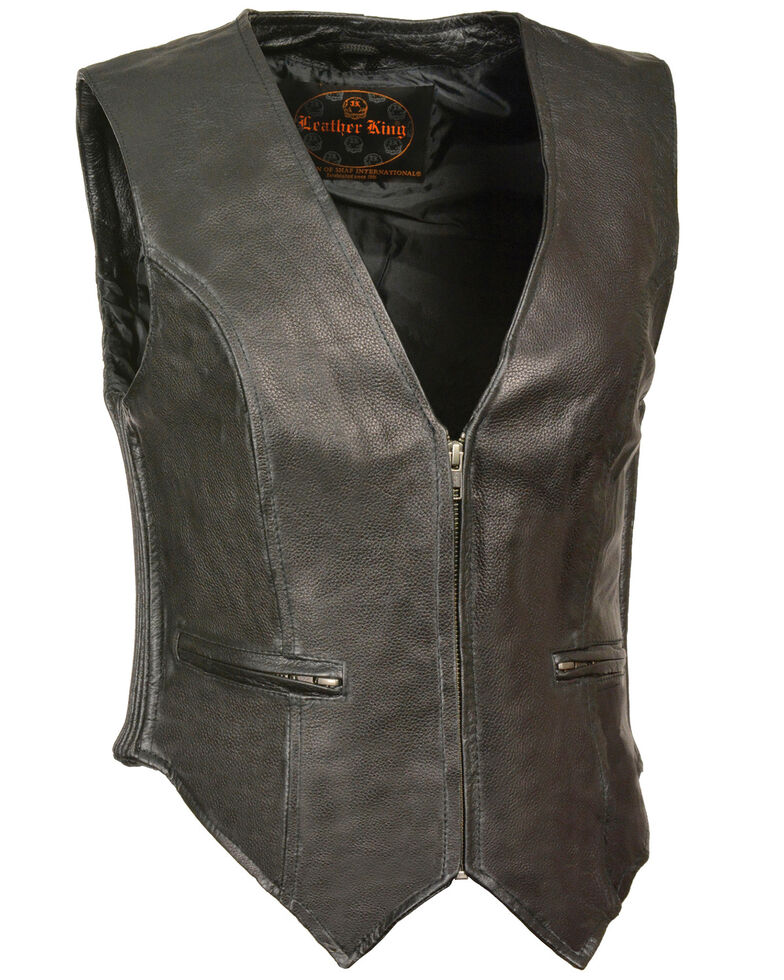 Milwaukee Leather Women's Zipper Front Side Stretch Vest - 3X, Black, hi-res