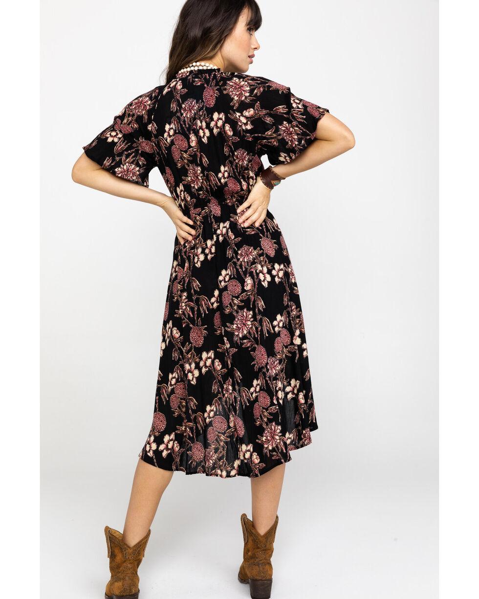 Angie Women's Surplice Short Sleeve Romper Dress, Black, hi-res