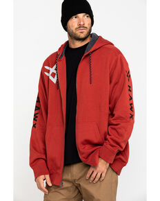 Hawx Men's Red Sherpa Lined Full Zip Hooded Work Jacket , Red, hi-res