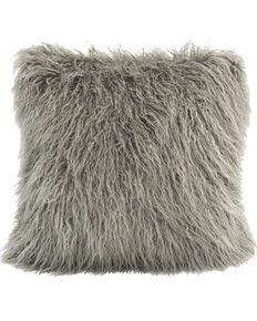 HiEnd Accents Mongolian Faux Fur Pillow, White, hi-res