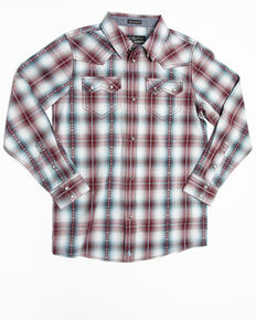 Cody James Boys' MC' Calister Plaid Long Sleeve Western Shirt , Blue, hi-res