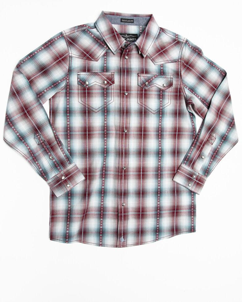 Cody James Boys' MC' Calister Plaid Long Sleeve Western Shirt , Blue, hi-res