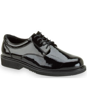 Thorogood Men's Poromeric Academy High Glass Uniform Oxfords, Black, hi-res