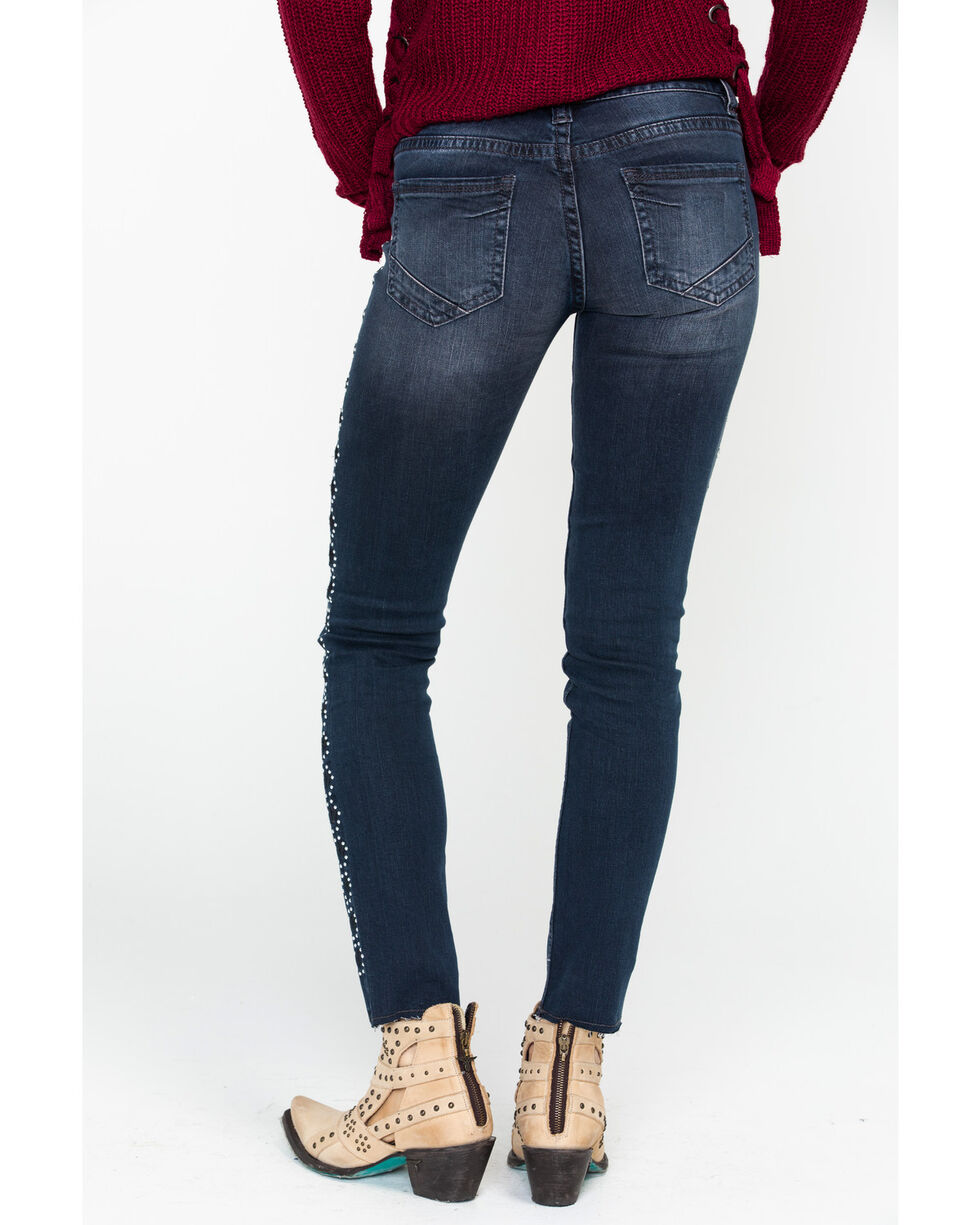 Rock & Roll Cowgirl Women's Studded Mid Rise Jeans, Dark Grey, hi-res