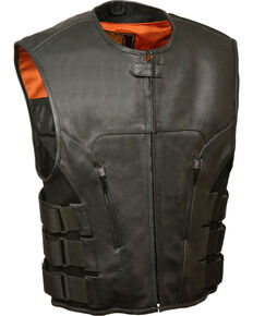 Milwaukee Leather Men's SWAT Style Zipper Front Vest - Big , Black, hi-res