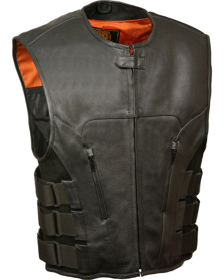 Milwaukee Leather Men's SWAT Style Zipper Front Vest - Big , Black, hi-res