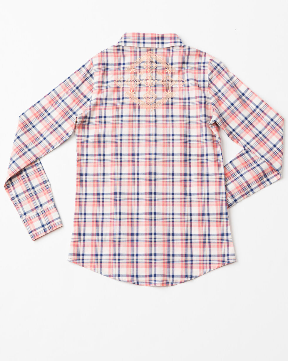 Shyanne Girls' Aztec Embroidered Plaid Long Sleeve Shirt , Coral, hi-res