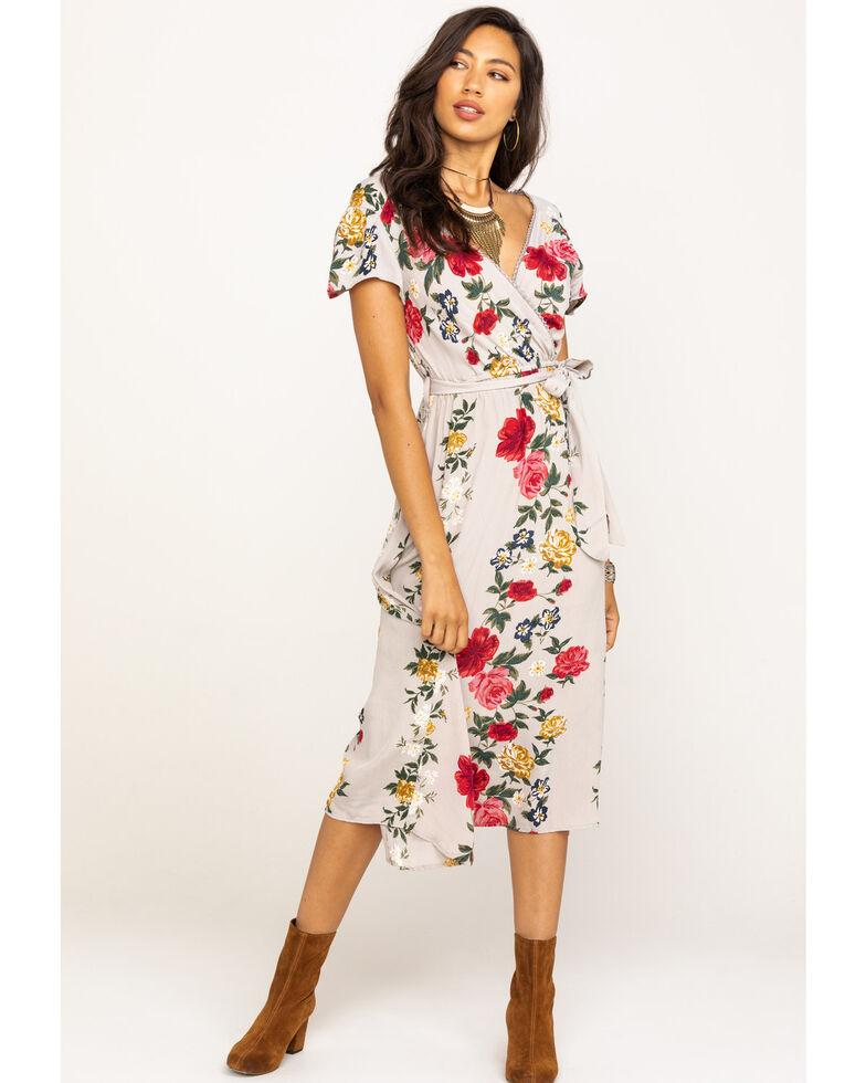 Angie Women's Grey Floral Surplice Dress, Grey, hi-res