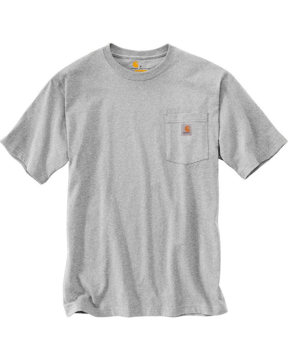 Carhartt Men's Grey Workwear Graphic Branded 'C' Pocket Short-Sleeve T-Shirt, Grey, hi-res