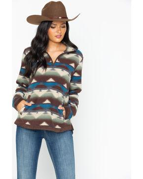 Outback Trading Co Women's Creme Aztec Kate Fleece Pullover, Cream, hi-res