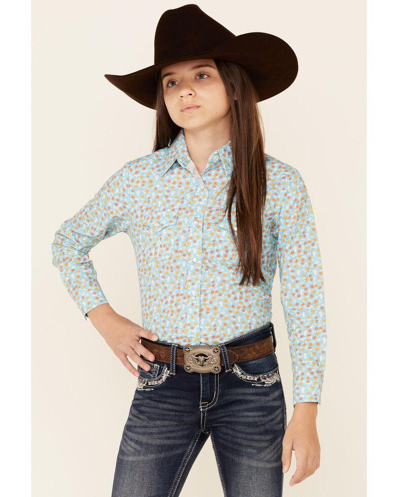 Panhandle Girls' Turquoise Mini Cactus Print Long Sleeve Snap Western Shirt , Turquoise, hi-res