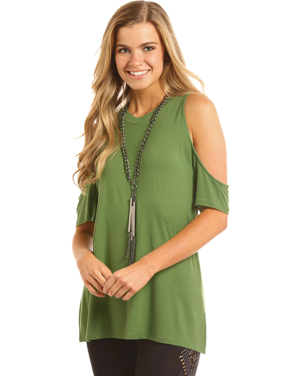 Panhandle Women's Cold Shoulder T-Shirt, Green, hi-res