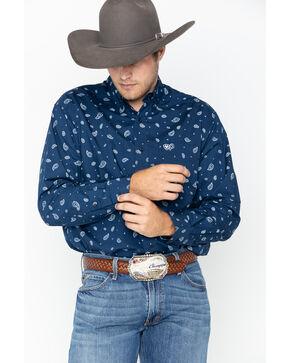 Ariat Mens' Barcroft Midnight Run Print Long Sleeve Shirt , Navy, hi-res