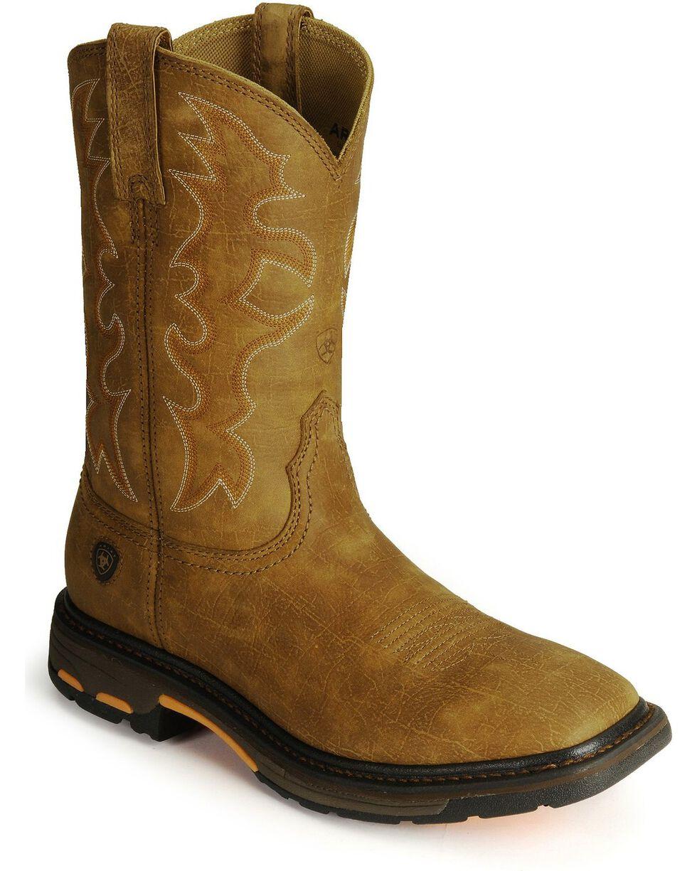 """Ariat Men's Workhog 11"""" Steel Toe Work Boots, Bark, hi-res"""