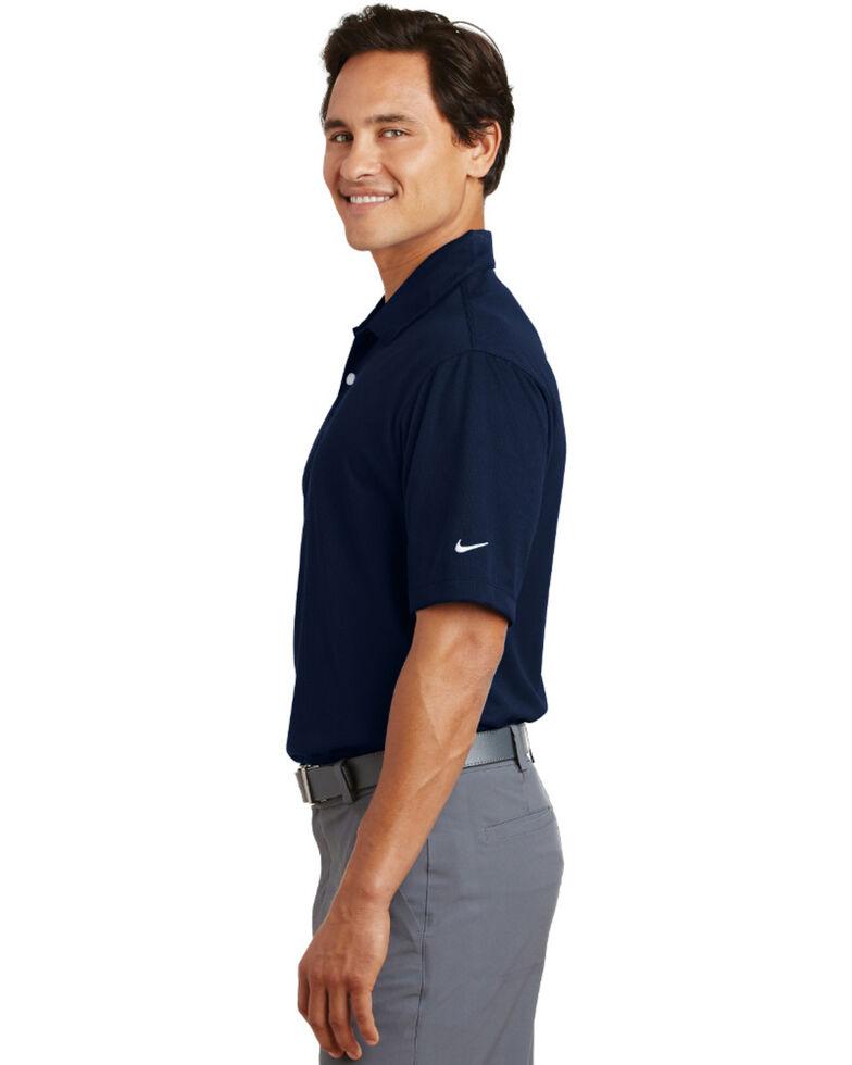 Nike Golf Men's Navy Dri-Fit Pebble Texture Short Sleeve Polo Work Shirt , Navy, hi-res