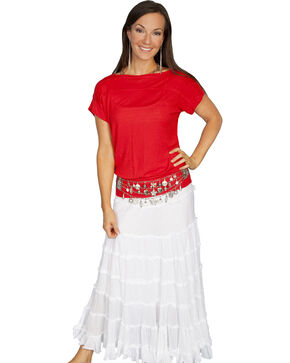 Scully Lightweight Gauze Panel Skirt, White, hi-res