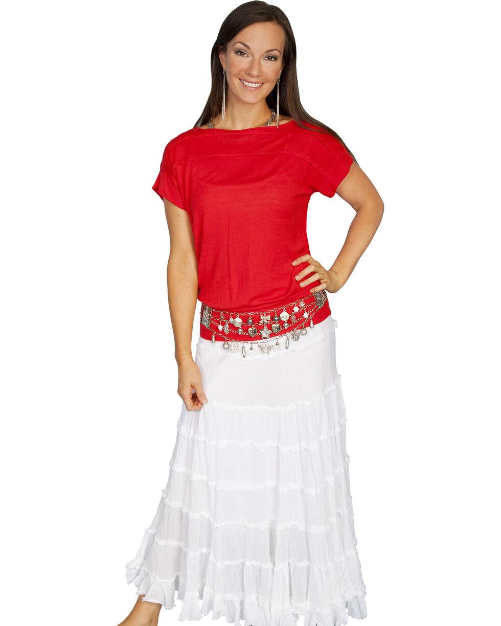 Scully Lightweight Gauze Panel Skirt, White, hi-res