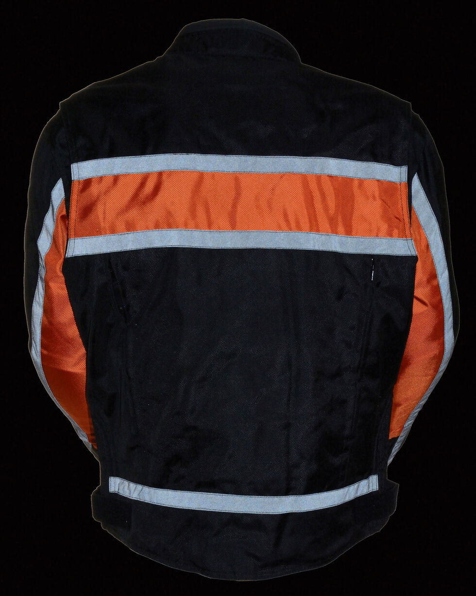 Milwaukee Leather Men's Reflective Stripe Racer Jacket - 4X, , hi-res