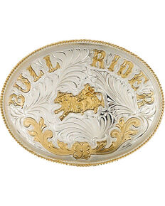 Western Express Men's Extra Large German Bull Rider Belt Buckle , Silver, hi-res