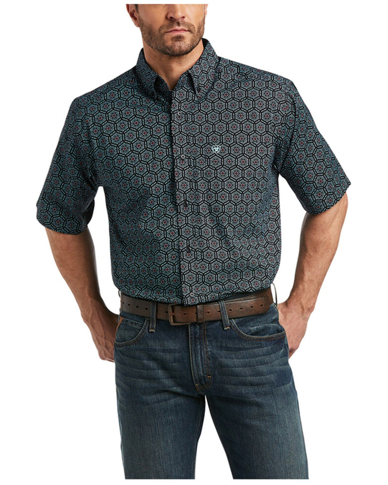 Ariat Men's Iradell Stretch Geo Print Short Sleeve Button-Down Western Shirt , Black, hi-res