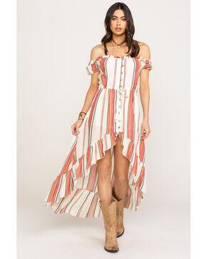 Ocean Drive Women's Ivory Stripe Peasant Hi Low Dress, Red, hi-res
