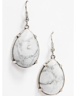 Idyllwind Women's White Turquoise Teardrop Earrings , Silver, hi-res