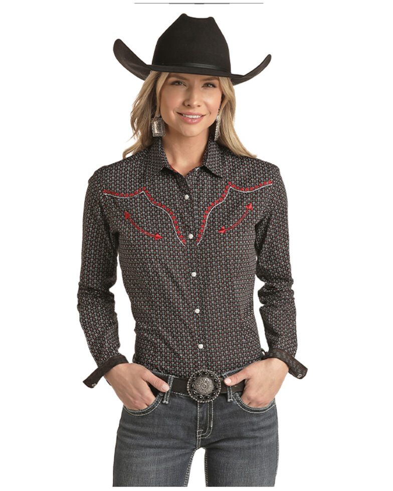 Panhandle Women's Card Geo Print Embroidered Long Sleeve Western Shirt - Plus , Black, hi-res