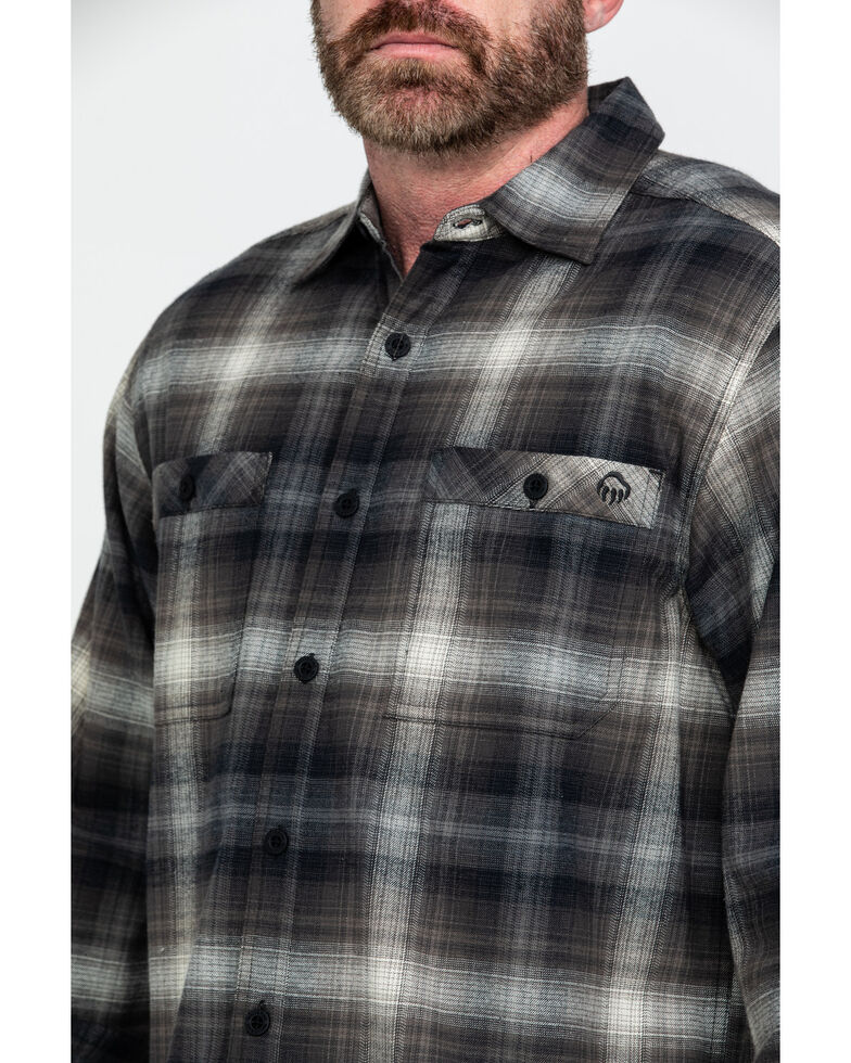 Wolverine Men's Grey Grayson Plaid Stretch Flannel Work Shirt , Grey, hi-res