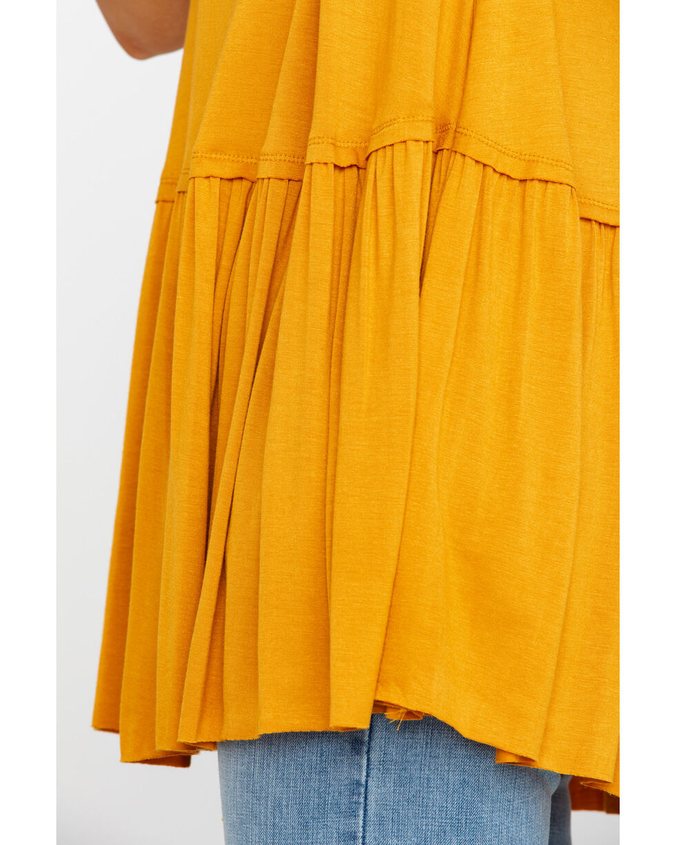 Red Label by Panhandle Women's Drop Waist Ruffle Knit Tank , Dark Yellow, hi-res