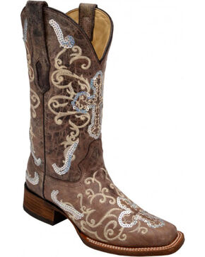 Corral Women's Sequin Cross Western Boots, Tobacco, hi-res